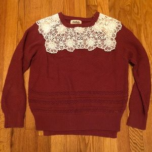 Sweaters - Long sleeve lace detail sweater